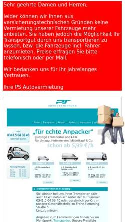 Vorschau der mobilen Webseite auto-mieten-leipzig.de, Autovermietung Mobile Eiteneuer