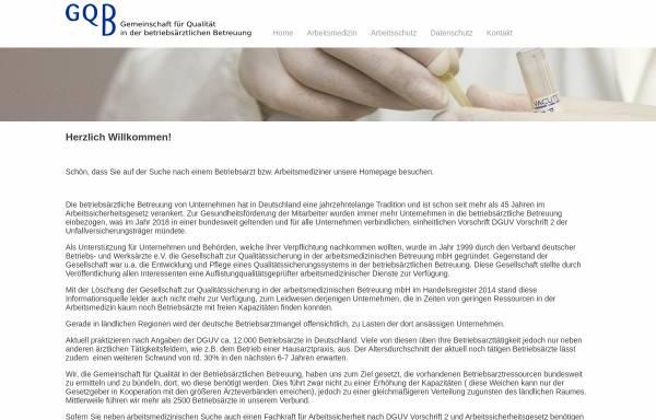 Vorschau von www.gqb.de, Gesellschaft zur Qualitätssicherung in der betriebsärztlichen Betreuung mbH (GQB)