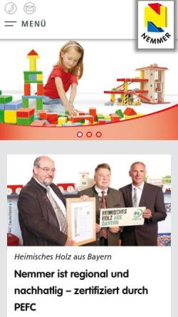 Vorschau der mobilen Webseite www.nemmer.de, Nemmer Holzspielwaren GmbH