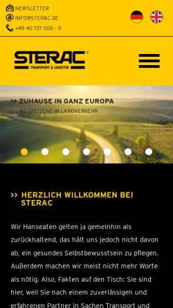 Vorschau der mobilen Webseite www.sterac.com, Sterac Transport GmbH