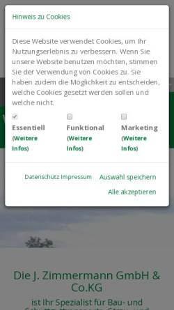 Vorschau der mobilen Webseite www.j-zimmermann-transporte.de, J. Zimmermann GmbH & Co. KG