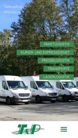 Vorschau der mobilen Webseite tp-frankfurtoder.de, Thews & Partner OHG und T & P Transport-Logistik-Service GmbH