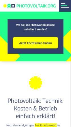 Vorschau der mobilen Webseite www.photovoltaik-guide.de, photovoltaik-guide.de