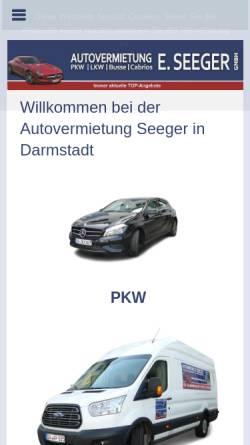 Vorschau der mobilen Webseite www.autovermietung-seeger.de, Autovermietung E. Seeger GmbH