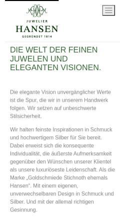 Vorschau der mobilen Webseite hansen-juwelier.de, Juwelier Hansen