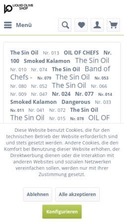 Vorschau der mobilen Webseite www.premium-olivenoel.de, Olivenöl Shop
