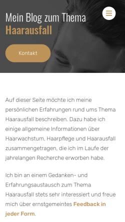 Vorschau der mobilen Webseite www.haarausfall-gestoppt.de, Mein Haarausfall Blog