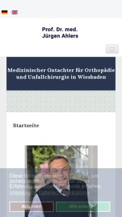 Vorschau der mobilen Webseite www.unfallchirurgie.com, Prof. Dr. med. Juergen Ahlers