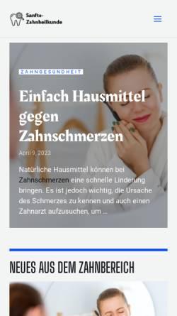Vorschau der mobilen Webseite www.sanfte-zahnheilkunde.de, Die Praxis für Zahnheilkunde