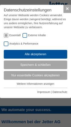 Vorschau der mobilen Webseite www.jetter.de, Jetter AG