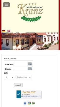 Vorschau der mobilen Webseite www.hotel-landgasthof-kranz.de, Hotel Landgasthof Kranz