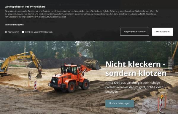 Vorschau von www.kroll-lueneburg.de, Kroll GmbH Tief- und Straßenbau