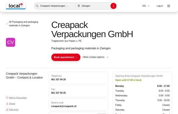 Vorschau von www.creapack.ch, Creapack Verpackungen GmbH
