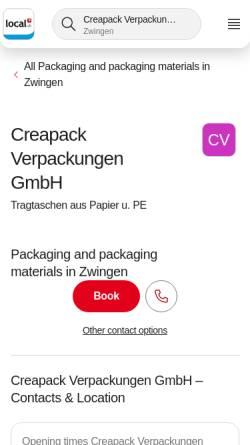 Vorschau der mobilen Webseite www.creapack.ch, Creapack Verpackungen GmbH