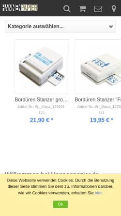 Vorschau der mobilen Webseite www.kuvertshop.net, Hannen Papier e.K.
