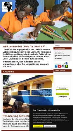 Vorschau der mobilen Webseite www.loewefuerloewe.de, Löwe für Löwe e.V.
