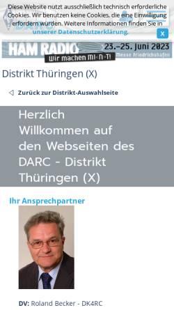 Vorschau der mobilen Webseite www.darc.de, DARC Distrikt Thüringen (X-DOK)