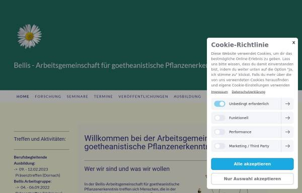 Vorschau von www.anthrobotanik.eu, Bellis, Arbeitsgemeinschaft für goetheanistische Pflanzenerkenntnis