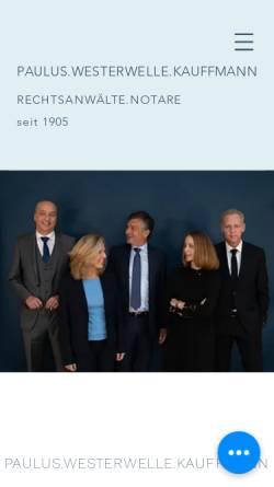 Vorschau der mobilen Webseite www.paulus-westerwelle.de, Paulus, Westerwelle - Rechtsanwälte und Notare
