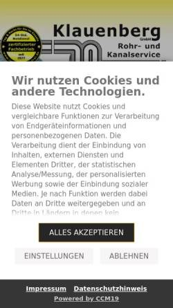 Vorschau der mobilen Webseite www.ist-dein-rohr-frei.de, Klauenberg GmbH Rohr- und Kanalservice
