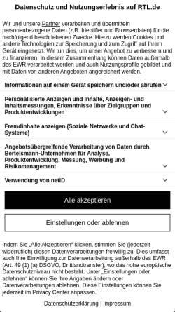 Vorschau der mobilen Webseite www.rtl.de, RTL aktuell