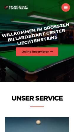 Vorschau der mobilen Webseite www.billardcenter.li, Billard und Dart Center Triesen