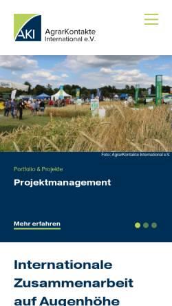 Vorschau der mobilen Webseite www.agrarkontakte.de, Agrarkontakte International e.V.