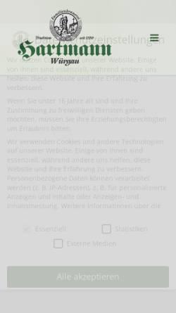 Vorschau der mobilen Webseite www.brauerei-hartmann.de, Brauerei-Gasthof-Hotel Hartmann