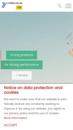 Vorschau der mobilen Webseite www.pluss.com, C. Plüss & Co. AG