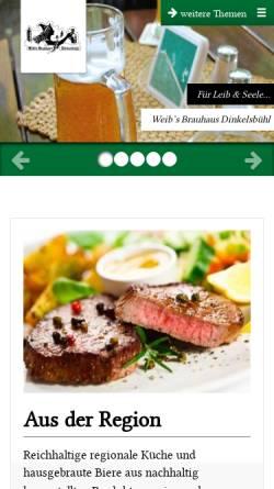 Vorschau der mobilen Webseite www.weibsbrauhaus.de, Weib's Brauhaus Dinkelsbühl