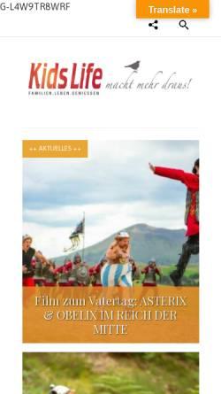Vorschau der mobilen Webseite www.kidslife-magazin.de, Kidslife Elternratgeber