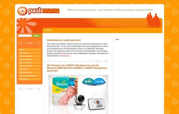 Vorschau von www.paulsmama.de, Magazin für Mütter, Eltern und Schwangere