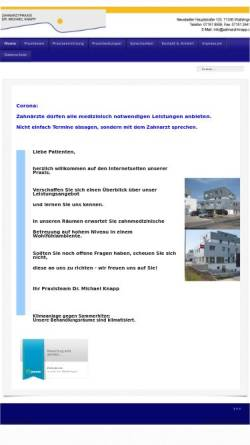Vorschau der mobilen Webseite zahnarzt-knapp.de, Zahnarztpraxis Dr. Michael Knapp
