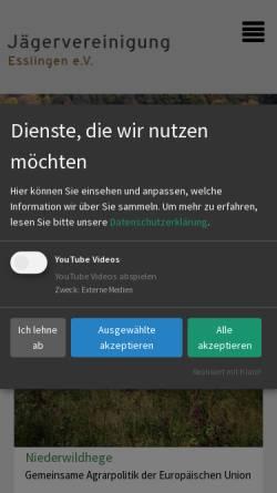 Vorschau der mobilen Webseite www.jaeger-es.de, Jägervereinigung Esslingen e.V.