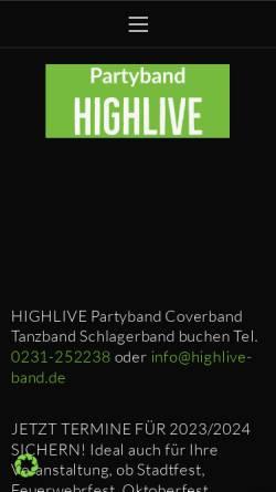 Vorschau der mobilen Webseite www.highlive-band.de, Highlive