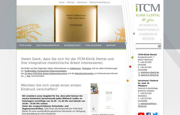 Vorschau von www.itcm-illertal.de, Klinik für integrative Traditionelle Chinesische Medizin Illertal GmbH -iTCM-Klinik Illertal