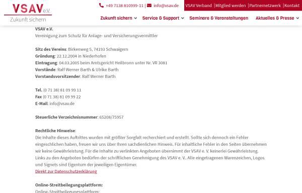 Vorschau von www.vsav.de, VSAV e.V., Vereinigung zum Schutz für Anlage- und Versicherungsvermittler