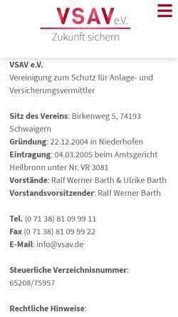 Vorschau der mobilen Webseite www.vsav.de, VSAV e.V., Vereinigung zum Schutz für Anlage- und Versicherungsvermittler