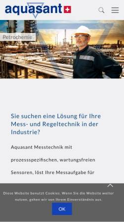 Vorschau der mobilen Webseite www.aquasant.com, Aquasant AG