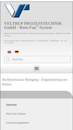 Vorschau der mobilen Webseite www.veltrup-gmbh.de, Veltrup Prozeßechnik GmbH