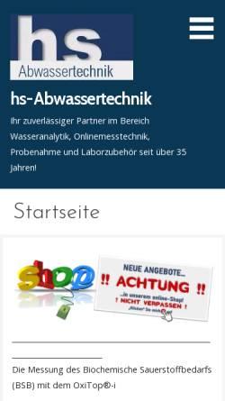 Vorschau der mobilen Webseite hs-abwassertechnik.de, Abwassertechnik Hilmar Sengler