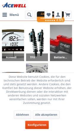 Vorschau der mobilen Webseite www.acewell.de, MTC - Motorrad-Technik GmbH