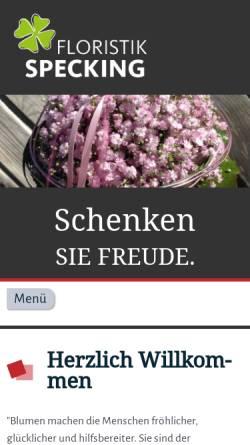 Vorschau der mobilen Webseite www.floristik-specking.de, Specking Floristik