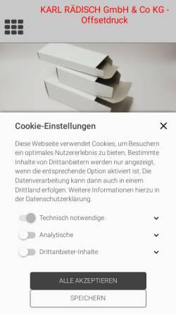 Vorschau der mobilen Webseite www.karl-raedisch.de, Karl Rädisch GmbH & Co KG Offsetdruck
