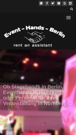 Vorschau der mobilen Webseite event-hands.com, EVENT-HANDS GmbH Messe- und Eventbau