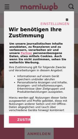 Vorschau der mobilen Webseite www.mamiweb.de, Mamiweb