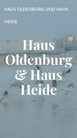 Vorschau der mobilen Webseite www.haus-oldenburg-borkum.de, Ferienhaus Oldenburg