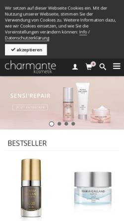 Vorschau der mobilen Webseite shop.charmantekosmetik.ch, Charmante Kosmetik, Ruth Koller