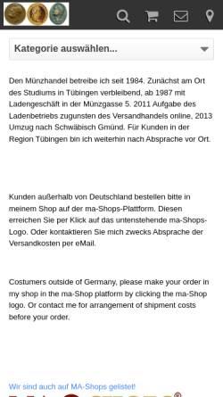 Vorschau der mobilen Webseite muenzen-schwarz.de, Numismatik konservativ, Karl-Heinz Schwarz