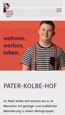 Vorschau der mobilen Webseite www.pater-kolbe-hof.de, Pater-Kolbe-Hof - Wohnheim und Werkstatt für behinderte Menschen in 02788 Schlegel